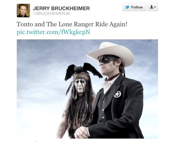 jerry bruckheimer tweet for lone ranger