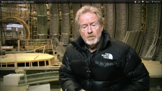 RIDLEY SCOTT ON SET OF PROMETHEUS